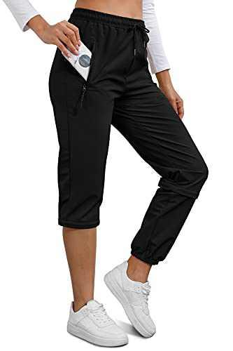 Ospetty Hiking Pants Lightweight Quick Dry Joggers Zip Off Convertible Running Hiking Women Outdoor Pants 4 Zipper Pockets Black