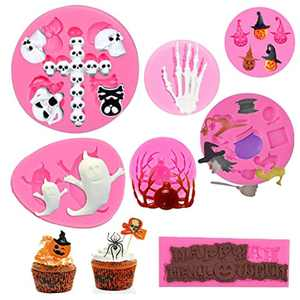 7 Pcs Halloween Silicone Fondant Moulds Chocolate Cake Candy Jelly Sweet Baking Mould Uciy