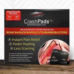 Large CrashPads Adhesive Bandages for Road Rash, Raspberries, Scrapes and Burns (Crash Pads roadrash Dressing) [4-Large + 4 Bonus Small]