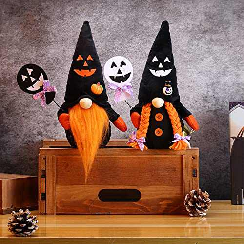 2Pcs Halloween Gnomes Plush Decorations,Halloween Mr & Mrs Handmade Swedish Tomte Decor,Home Table Elf Faceless Doll Gnome Ornaments for Party Home Mantle Fireplace Decor