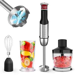 Immersion Hand Blender, ZUUKOO KITCHEN 800W 4-in-1 Immersion Blender Handheld, Multi-Purpose Stepless Speed Stick Blender with Chopper, Beaker, Whisk Attachments, for Smoothies/Soup/Baby Food
