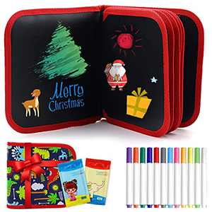 Kids Erasable Doodle Book, 16 Pages Portable Reusable Drawing Board Book with 12 Color Pens Set, Road Trip Travel Essentials for Toddlers Car Activities,Travel, Learning