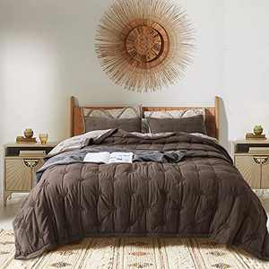 KASENTEX Light Weight All Season 3 Piece Quilt Set(Includes Quilt and 2 Pillow Shams) - Soft Machine Washable Bedspread, Brown, Queen Size