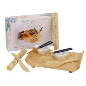 Noble Nest Deluxe Sushi Serving Set, Includes 2 Bamboo Sushi Mat, 1 Serving Tray, 2 Sets of Reusable Chopsticks, 2 Sauce Dishes, 1 Ladle, 1 Spreader - Great Sushi Making Kit and Housewarming Gift