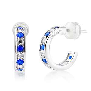 DE ROZZY 14K White Gold Plated Earrings cubic zirconia hoop earrings Wonderful Gift Choice for Women and girls white gold