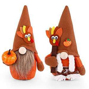 Christmas Ornaments Fall Decoration Thanksgiving Day Festival Gnomes Plush Toys with Pumpkin Desktop Gnome Decoration Handmade Dwarf Doll Thanksgiving Day Faceless Ornaments
