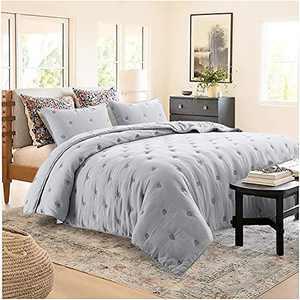 KASENTEX Quilt Set Ultra Soft Bedspread - Lightweight Machine Washable All Season Coverlet Vintage Nostalgic RV Camper and Compass Stitch Design, Grey, King Size + 2 Shams
