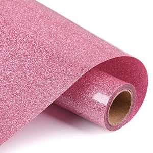 GraceM HTV just Buy it Iron on Vinyl Works Perfect with Silhouette for T-Shirt and Other DIY Materials, Easy to Cut&Weed, Customer Repeat 5ft by 12inch roll Matte Heat Transfer Vinyl (Glitter Pink)