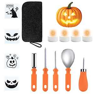 Halloween Pumpkin Carving Kit, 14PCS Professional Heavy Duty Carving Tools Set, Stainless Steel Pumpkin Carving Knife Supplies for Halloween Decoration Jack-O-Lanterns 4 LED Candles, 4 Stencils