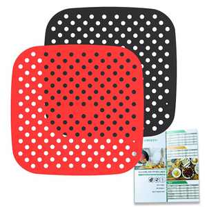 SIMOEFFI Reusable Air Fryer Liner,8.5 Inch Square Silicone air fryer Mats,Heat Resistant 430℉,Easy to Clean,BPA Free,Air Fryer Accessories For Ninja,Cosori,Gowise,Instant Pot and More(2Pack)