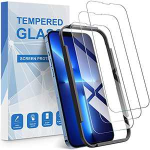 QSOON Compatible with iPhone 13 Screen Protector, iPhone 13 Pro Screen Protector, 3 Pack Anti-Scratch HD Tempered Glass Film (with Installation Guidance Frame)