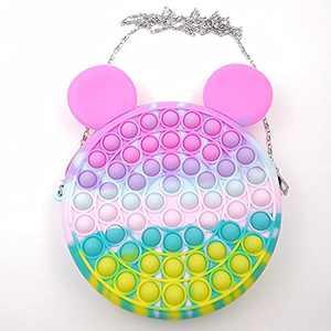 Pop Shoulder Bag,Rainbow Push Pop Fidget Toy Bag, Simple Sensory Silicone Pop Fidget Toy, School Supplies Backpack Silicone Bag Pop for Girls