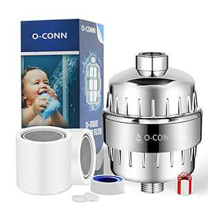 O-CONN Shower Filter, 15 Stage High Output Shower Head Filter for Hard Water, Water Softener Shower Water Filter, Reduces Chlorine and Harmful Substances, 2 Cartridges Included