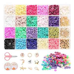 4400 Pcs Polymer Clay Beads Bracelet Making Kit, 6mm 20 Colors Flat Beads for Jewelry Making, Charm Bracelet Necklace Earring Heishi Beads Craft Kits with Gold Beads, Pendant, Jump Rings, Letter Beads