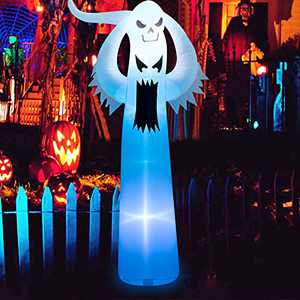 12 FT Halloween Inflatable Terrible Spooky Ghost with LED RGB Color Changing Light Blow Up Party Decoration for Indoor Outdoor Yard Lawn