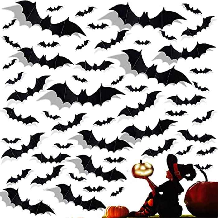 AONAT 120 Pieces 3D Bat Wall Stickers, Halloween Decoration Stickers,Bats Wall Decor Waterproof Bat Decals,for DIY wall,Window, Room Decor Halloween Party Supplies