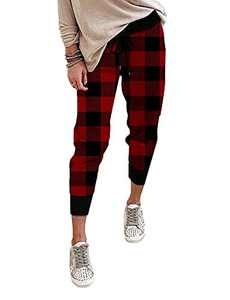 onlypuff Red Plaid Novelty Capris Joggers Comfy Pants Drastring Elastc Waist Lounge Trousers XL