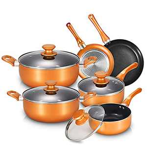 10 Pieces Pots and Pans Set,Aluminum Cookware Set, Nonstick Ceramic Coating, Fry Pan, Stockpot with Lid, Copper and Black