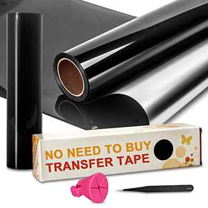 """unuaST Updated Black Permanent Vinyl Roll, Reverse Weeding No Need for Vinyl Transfer Tape, Black Adhesive Vinyl Roll- 12""""x 30FT for Cricut, Silhouette, and Cameo Cutters"""