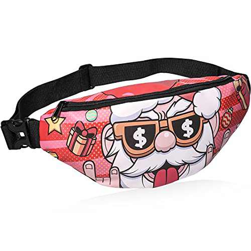 Christmas Fanny Packs Gifts - Santa Printed Waist Packs, Waterproof Adjustable Fanny Pack Unisex Funny Gag Gifts for Christmas