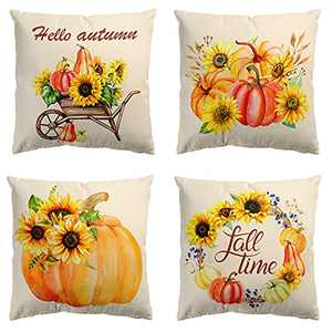 Fall Decor for Home Autumn Farmhouse Decoration Fall Pillow Covers Home Rustic Linen Pillow Case for Sofa Couch Thanksgiving Outdoor Gifts Throw Pillow Covers