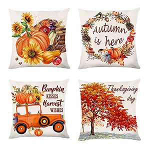 Fall Decor for Home Autumn Farmhouse Decoration Fall Pillow Covers Home Rustic Linen Pillow Case for Sofa Couch Thanksgiving Day Throw Pillow Covers