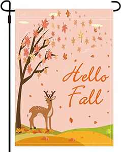Fall Garden Flag - Hello Fall Flag Double Garden Yard Flags Outdoor Decor 12 x 18 Inch