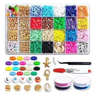 Clay Beads for Jewelry Making,Flat Beads Round Polymer Clay Beads DIY Bracelet Beads,Heishi Beads 4000Pcs/6mm,Letter Beads,Elastic Rope,Pendant DIY Jewelry Making Necklace/Bracelet/Anklet
