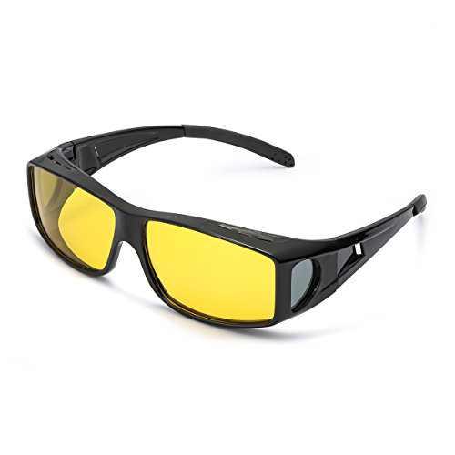 LVIOE Wrap Around Sunglasses, Polarized Lens Wear Over Prescription Glasses, Fit Over Regular Glasses with 100% UV Protection (Black frame/Yellow lens)