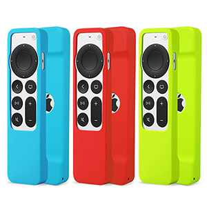 3pack Silicone Case for 2021 Apple TV Siri (2nd Generation), Anti Slip Shockproof Silicone Protective Remote Cover Case for Apple TV 4K 6th / HD 5th Siri Remote Controller (Blue,RED,Green)