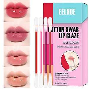 Tattoo Lipstick, 4 Colors Tattoo Lipstick Cotton Swab, Disposable Lip Tint Kit- Long Lasting Waterproof Non-Stick Lip Gloss, 20 Pcs