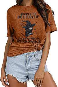 UNIQUEONE Buckle up Buttercup You just Flipped My Witch Switch Letter Pattern Printed Round Neck Short-Sleeved T-Shirt Brown