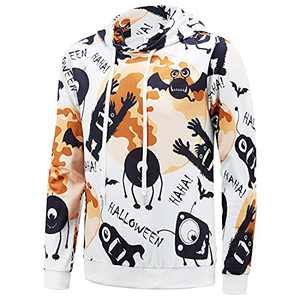 ENVMENST Mens Halloween Hoodies Fun Pumpkins Printed Pullover Drawstring Hood Sweatshirt(TH,M) White