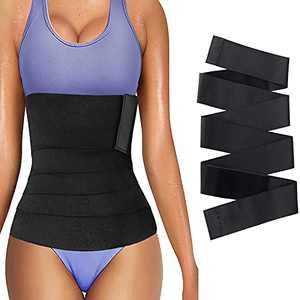13FT Snatch Me Up Bandage Wrap RESHE Lumbar Waist Support Belt, Invisible Wrap Waist Trainer Tape, Women Slimming Tummy Wrap Belt (4M/13FT) Black