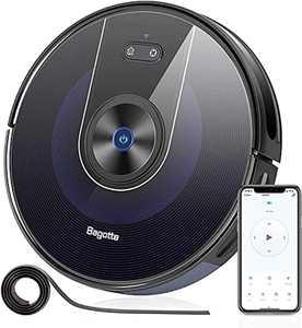Robotic Vacuum, Bagotte Robot Vacuum Cleaner, Wi-Fi & Alexa Connected, 2200Pa Suction Robot Vacuum Mopping, App Control, Smart Navigation, Super-Thin, Self-Charging for Pet Hair Carpets Hard Floors
