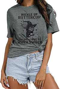 UNIQUEONE Buckle up Butter Cup You just Flipped My Witch Switch Letter Pattern Printed Round Neck Short-Sleeved T-Shirt (Grey, 2X-Large)