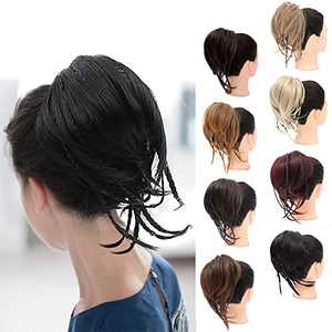Straight Hair Bun with Braiding Ponytail Extension , Synthetic Bun Hairpieces Straight Braided Irregular Messy Pony Tails Elastic Rubber Scrunchies Hair Accessories for Women (Color:1B#)