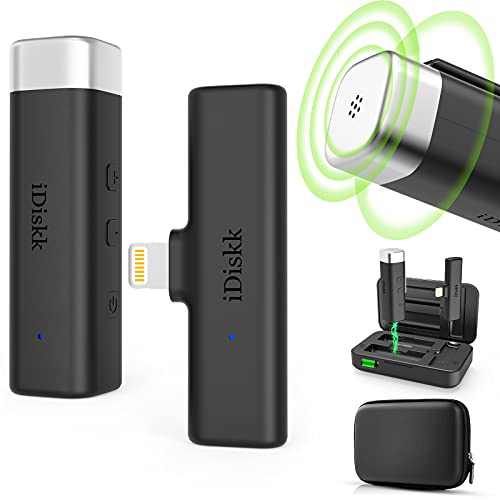iDiskk Plug-Play Certified by app/le Wireless Lavalier Microphone for iPhone iPad, 2.4GHz Lapel iPhone Mic with Charging Case for TikTok YouTube Facebook Live Stream Vlog Video Recording Auto Sync