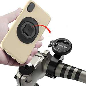 Mountain Bike Phone Holder with Quick Mount,Universal Aluminum Motorcycle Handlebar Cell Phone Holder Connect Quickly System Riding Clip,MTB Road Bicycle Moto Bracket for iPhone Samsung Google-2nd Gen