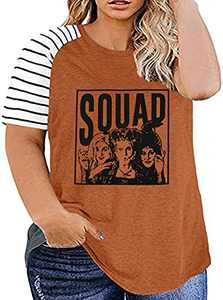 UNIQUEONE Women Plus Size Halloween Squad Shirt Hocus Pocus Striped T-Shirt Casual Graphic Short Sleeves Top Tees (B-Brown, X-Large)