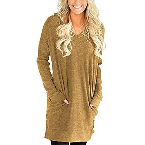 Women's Long Sleeve V-Neck Sweatshirt Tunic Casual Pullover Lightweight Pocket Tops Brown