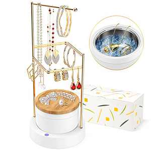 Jewelry Organizer Ultrasonic Cleaner - Earring Holder Jewelry Stand Ultrasonic Jewelry Cleaner Birthday Gift for Women 2-in-1 Separate for Cleaning & Hanging Earring, Ring, Necklace, Bracelet, Coins