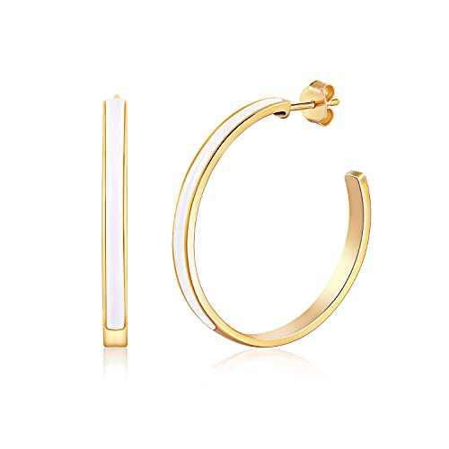 KOSINER 14K Gold Hoop Earrings Big Hoop Earrings for Women, 28MM Enamel Colorful Hypoallergenic Earrings for Girl Dainty Jewelry Gifts for Women(White)