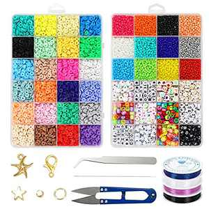 8400pcs Clay Beads and Glass Seed Beads, 24 Colors Flat Beads 6mm for Bracelet Making Kit, AYJIWSER Heishi Beads Kit 3mm DIY Art and Craft with 600 pcs Letter Beads, DIY Accessories