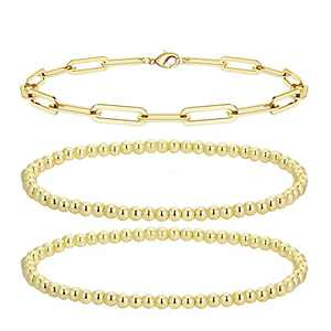 Honsny Gold Bead Layered Bracelets for Women,14K Gold Plated Beaded Ball Link Chain Bracelets for Women Dainty Paperclip Stackable Stretch Elastic Gold Bracelets for Teen Girls