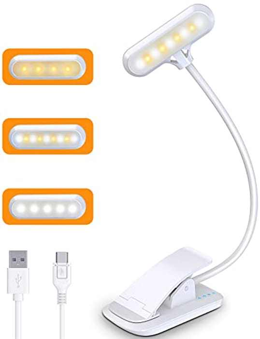 Cocoda Reading Light, 9 LED Book Light with 3 Colors and Stepless Dimming, Eye Care Book Lamp Clip on Light for Kids, Bookworms, Rechargeable 600mAh Battery, Flexible Clip on Book, Bed
