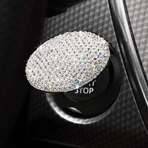 Bling Car Engine Start Stop Button Cover, Push Start Button Crystal Cover Anti-Scratch Car Engine Decoration Cover Mask Hook, Bling Car Accessories for Women