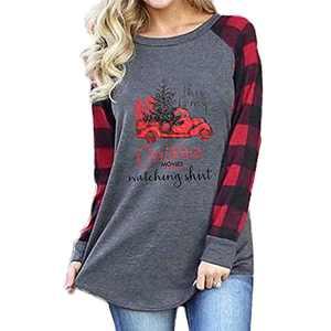 T&Twenties Womens Buffalo Plaid Merry Christmas Shirt Long Sleeve Raglan Baseball Tee Tops Funny Christmas Tree Shirts