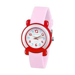 Kids Watch Analog for Boys Girls Waterproof Time Teaching Child Quartz Soft Band Wrist Watch 3-12 Years Old (Pink)