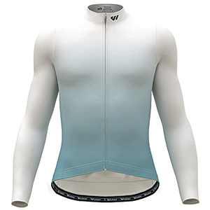 Wulibike Men's Cycling Jersey Long Sleeve Mountain Bike Shirts for Men with Pockets Gradient Cycling Bike Jersey Lightweight